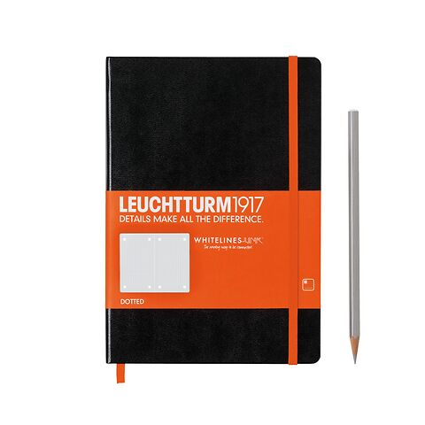 Notebook Medium (A5) Whitelines Link, Hardcover, 249 numered pages, black, dotted