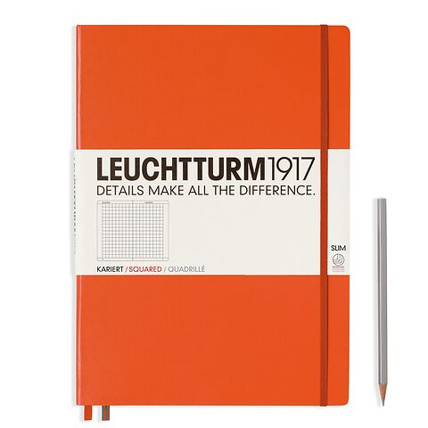 Notebook Master Slim (A4+) Hardcover, 121 numbered pages, squared, orange