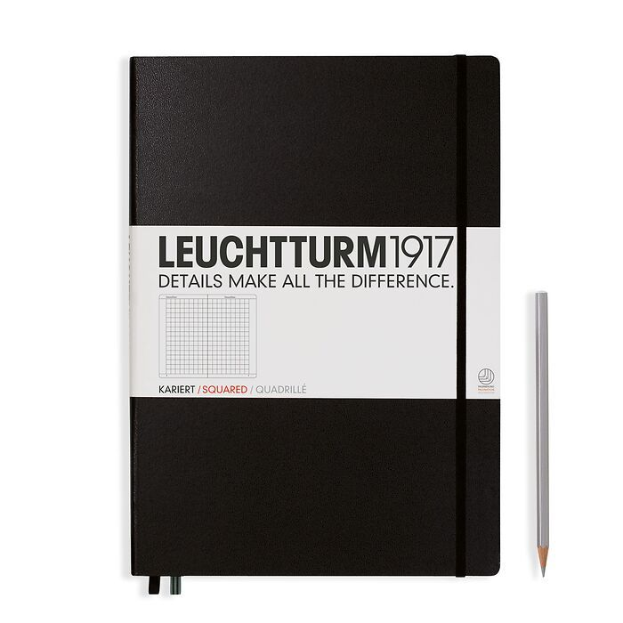 Notebook Master (A4+) Hardcover, 233 numbered pages, squared, black