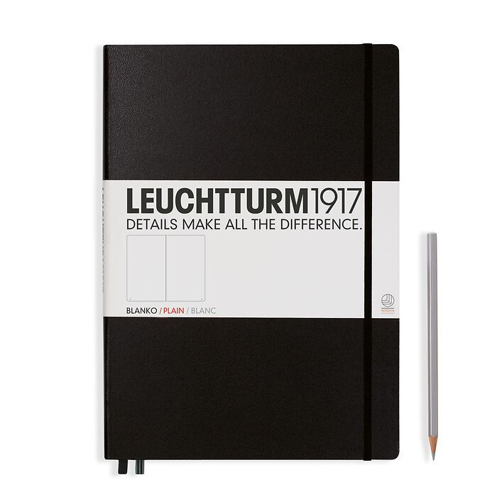 Notebook Master (A4+) Hardcover, 233 numbered pages, plain,black