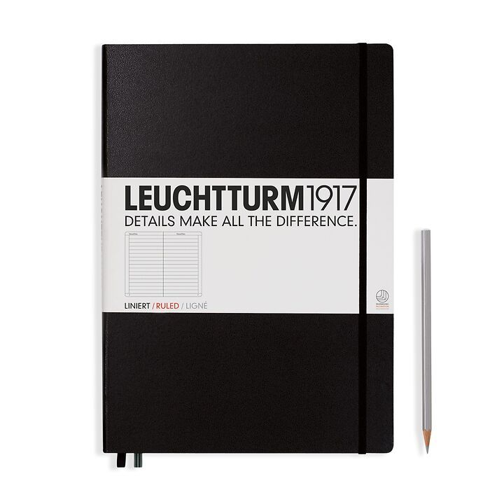 Notebook Master (A4+) Hardcover, 233 numbered pages, ruled,black