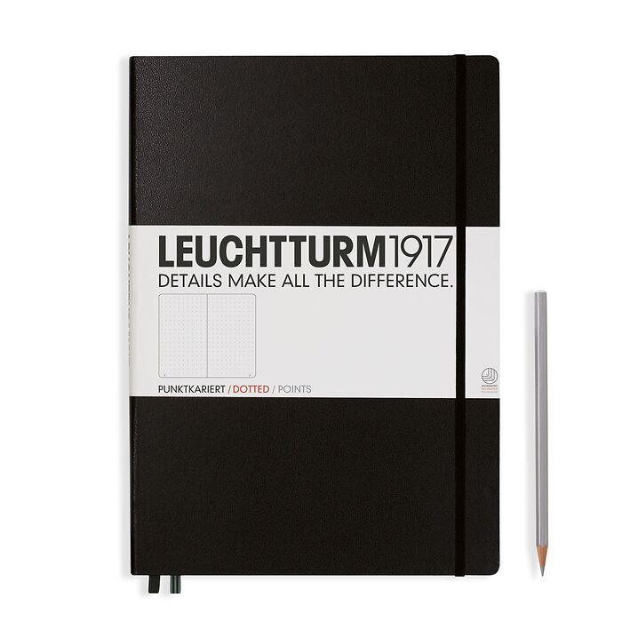 Notebook Master (A4+) Hardcover, 233 numbered pages, dotted, black