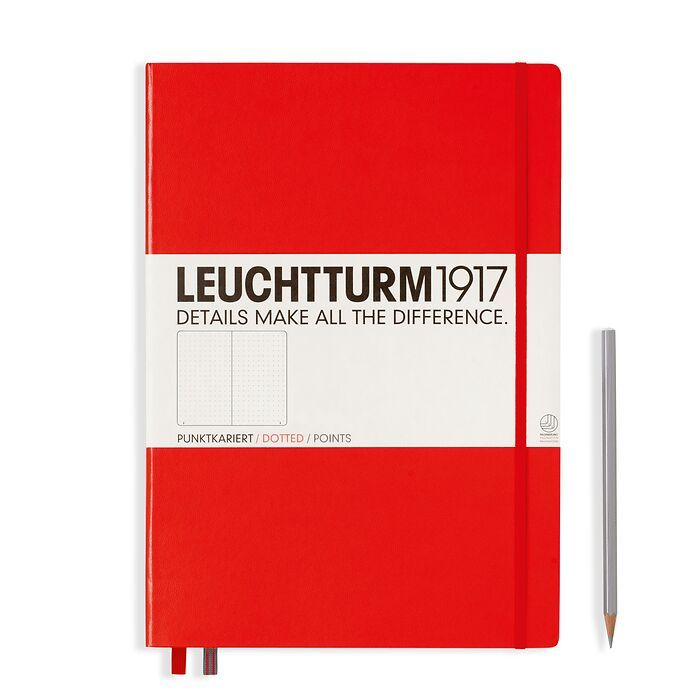 Notebook Master (A4+) Hardcover, 233 numbered pages, dotted, red