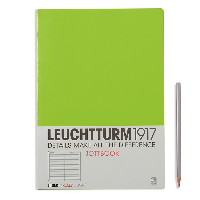 Jottbook A4 (210x297) 60 pages, 16 pages perforated, ruled, lime