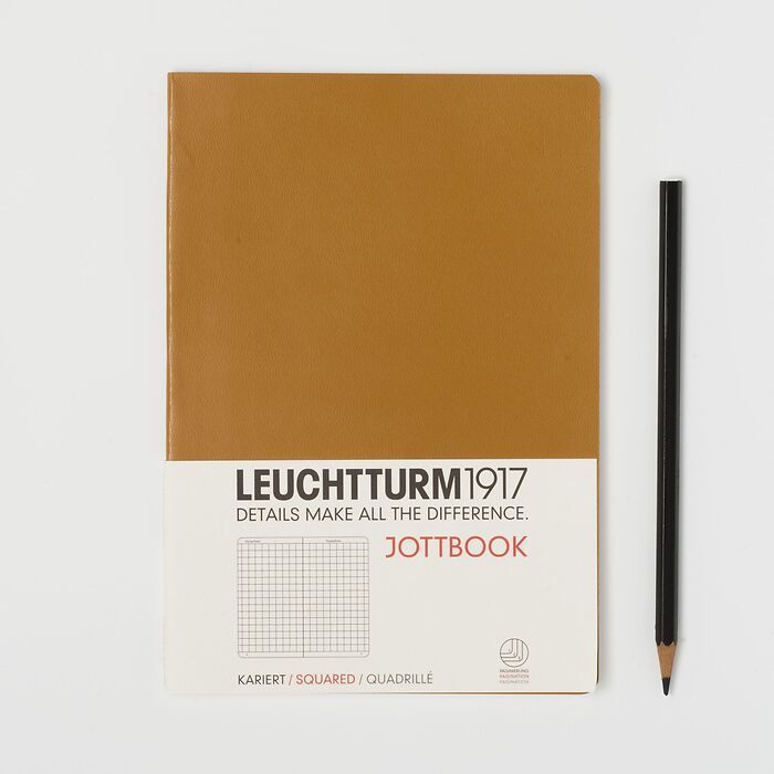 Jottbook Medium (A5) 60 pages, 16 pages perforated, squared, caramel