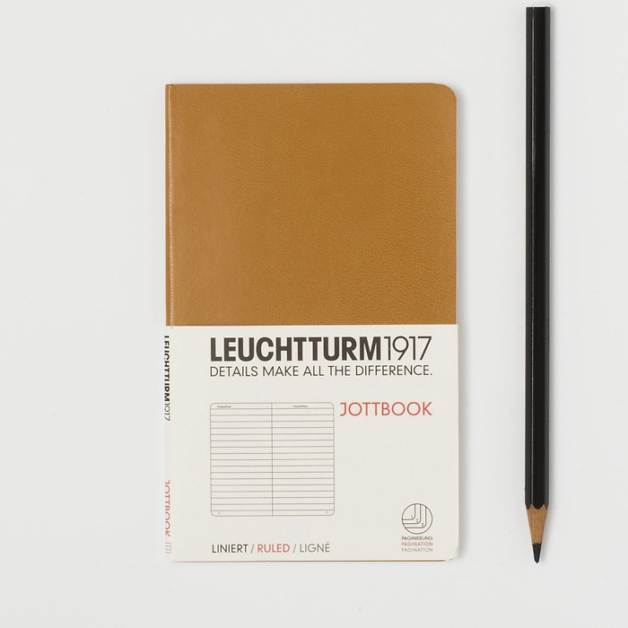 Jottbook Pocket (A6) 60 pages, 16 pages perforated, ruled, caramel