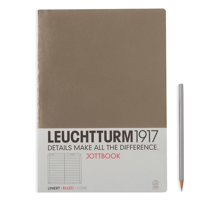 Jottbook A4 (210x297) 60 pages, 16 pages perforated, ruled, taupe