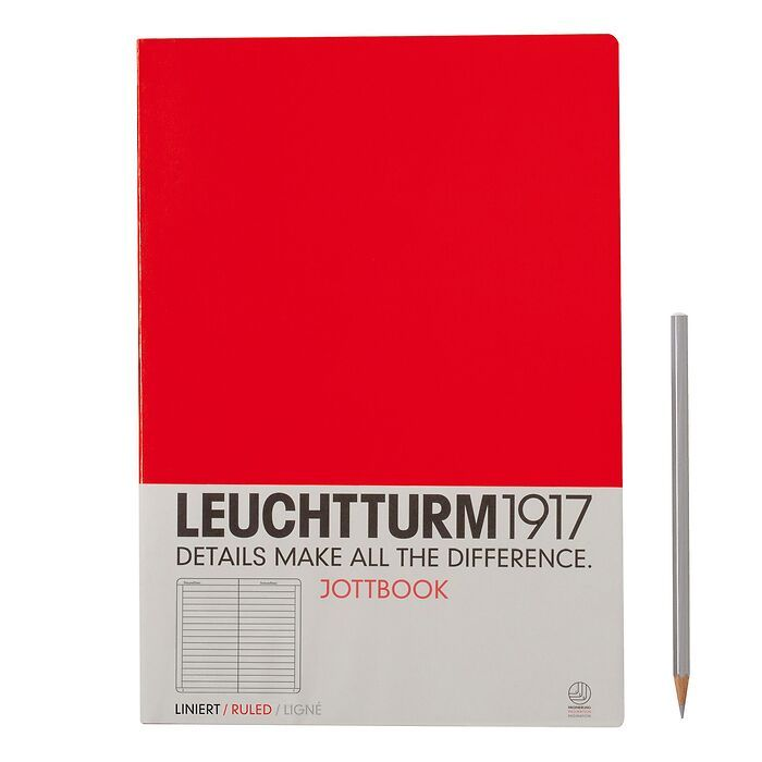 Jottbook A4 (210x297) 60 pages, 16 pages perforated, ruled, red