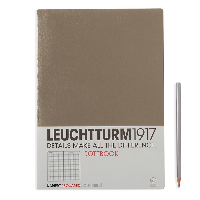 Jottbook A4 (210x297) 60 pages, 16 pages perforated, squared, taupe
