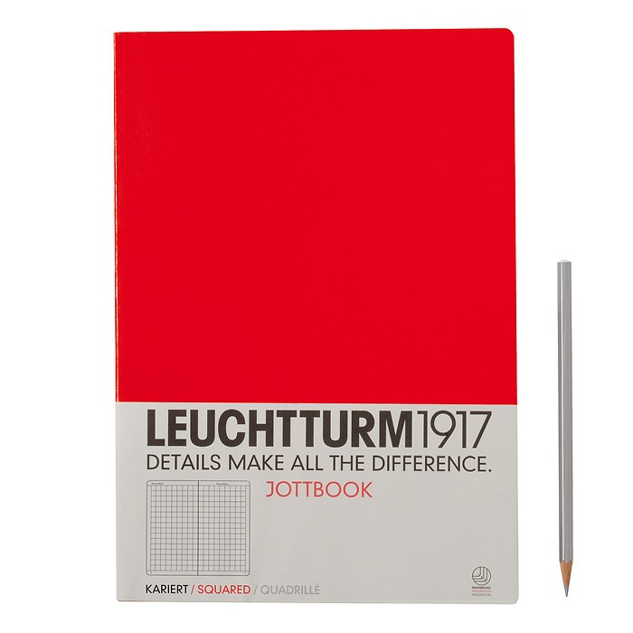 Jottbook A4 (210x297) 60 pages, 16 pages perforated, squared, red