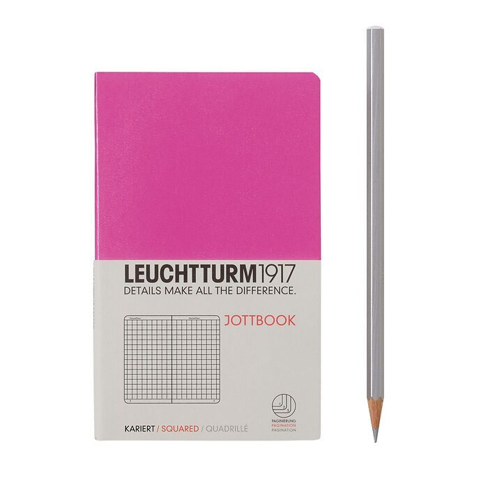 Jottbook Pocket (A6) 60 pages, 16 pages perforated, squared, pink