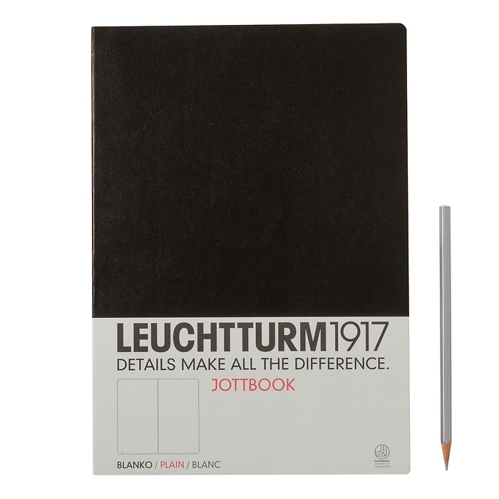 Jottbook A4 (210x297) 60 pages, 16 pages perforated, plain, black