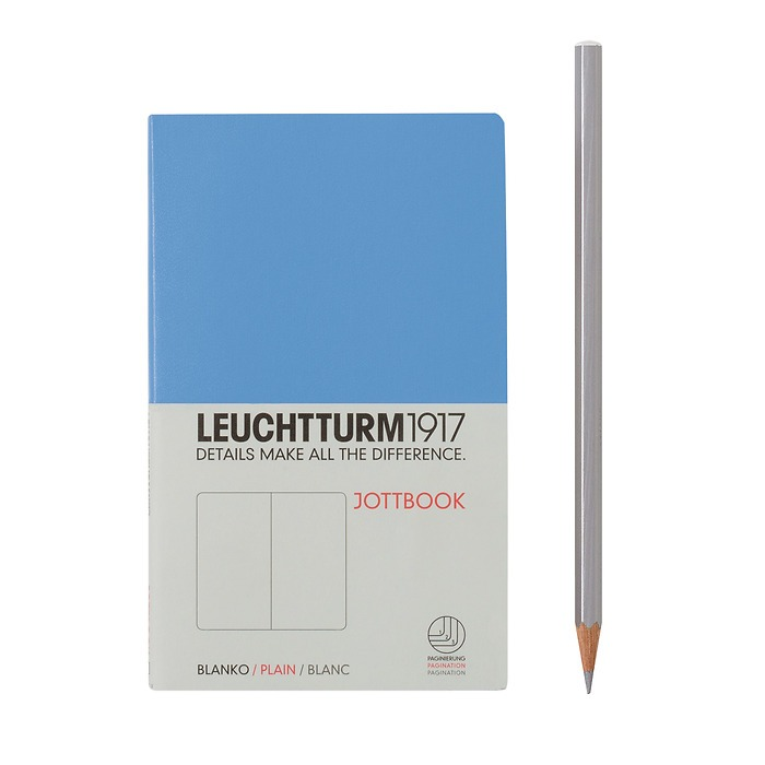 Jottbook Pocket (A6) 60 pages, 16 pages perforated, plain, cornflower