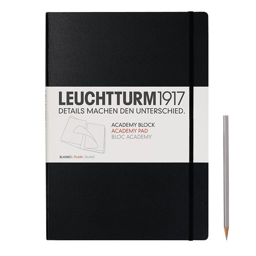 Academy Pad (A4) plain, Hardcover, 60 sheets, plain, black