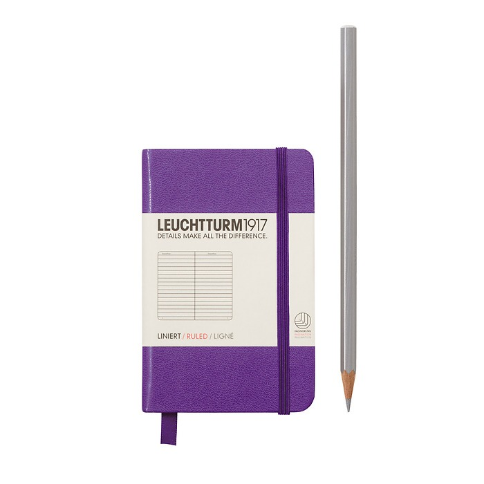 Notebook Mini (A7) Hardcover, 169 numbered pages, ruled, lavender