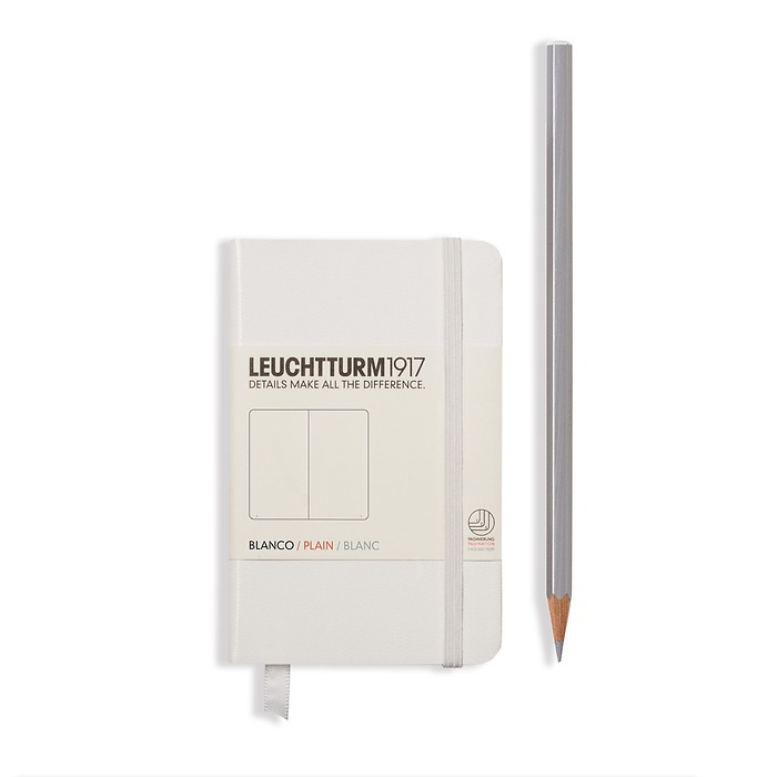 Notebook Mini (A7) Hardcover, 169 numbered pages, plain, white