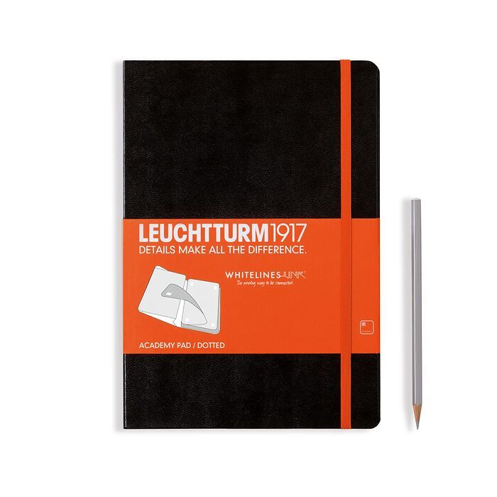Academy Pad Medium (A5) Whitelines Link, Hardcover, 60 sheets,dotted, black