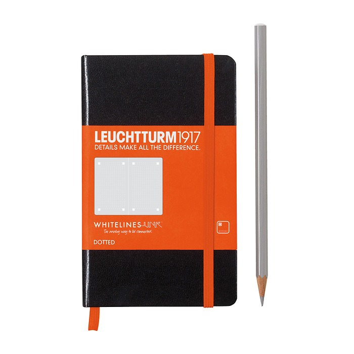 Notebook Pocket (A6) Whitelines Link, Hardcover, 185 numbered pages, black, dotted