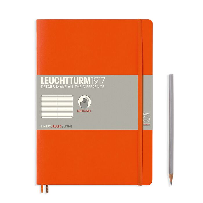 Notebook Composition (B5) ruled, softcover, 121 numbered pages, orange