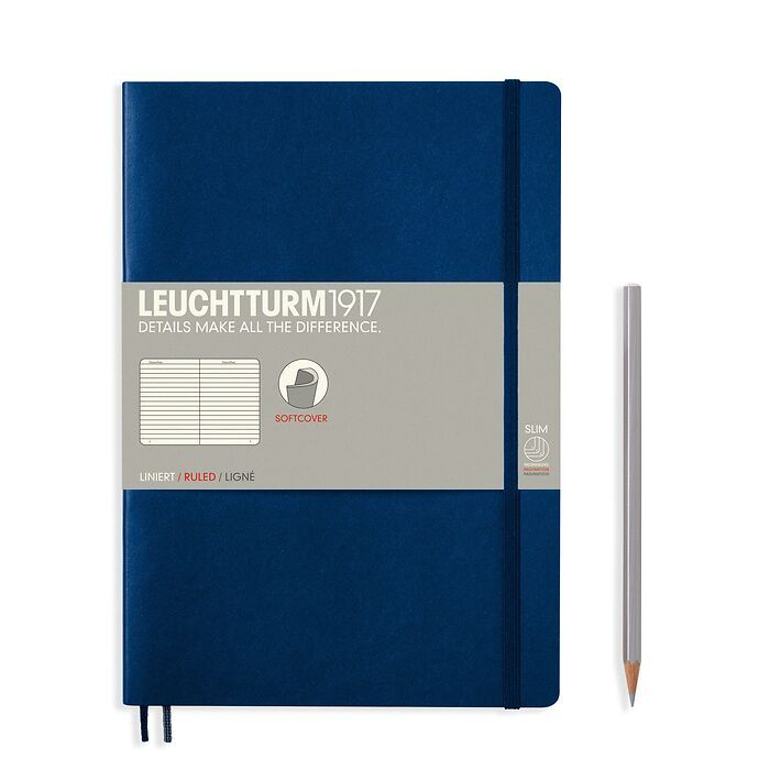 Notebook Composition (B5) ruled, softcover, 121 numbered pages, navy