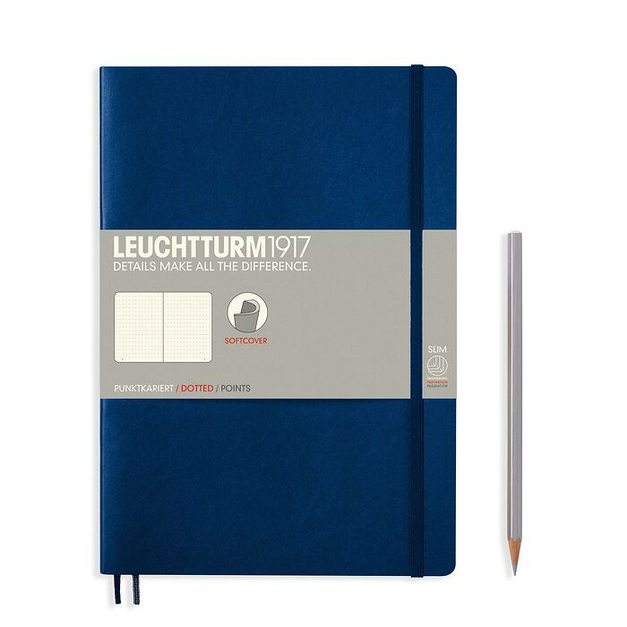 Notebook Composition (B5) dotted, softcover, 121 numbered pages, navy
