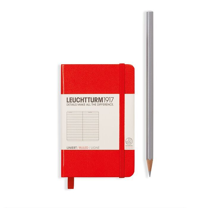 Notebook Mini (A7) Hardcover, 169 numbered pages, ruled, red