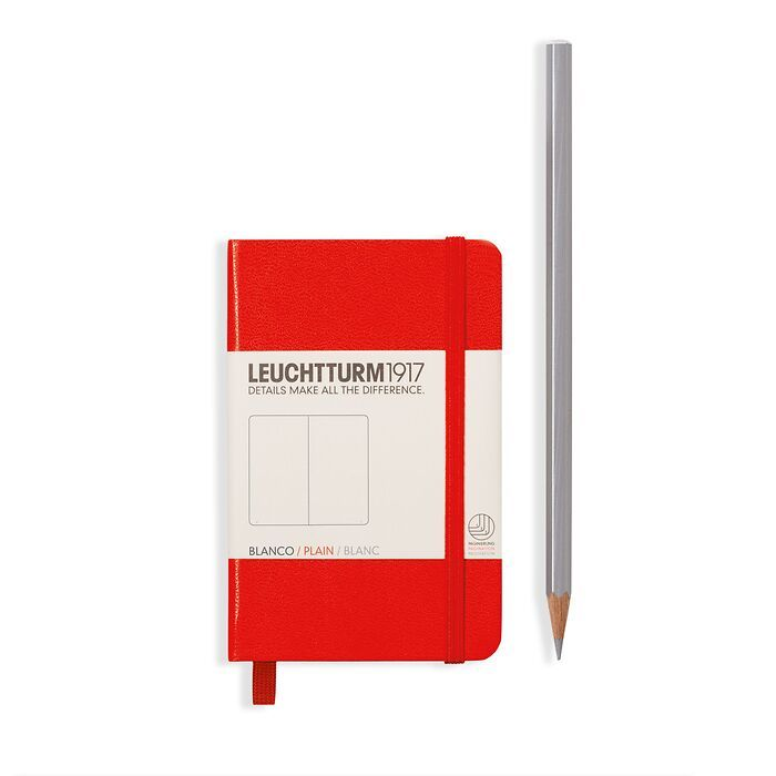 Notebook Mini (A7) Hardcover, 169 numbered pages, plain, red