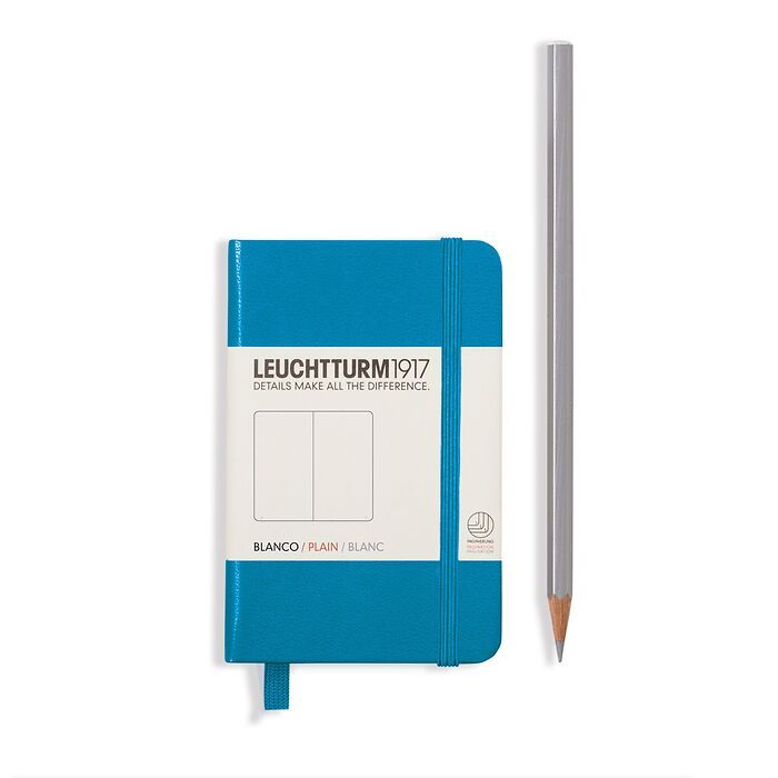 Notebook Mini (A7) Hardcover, 169 numbered pages, ruled, azure