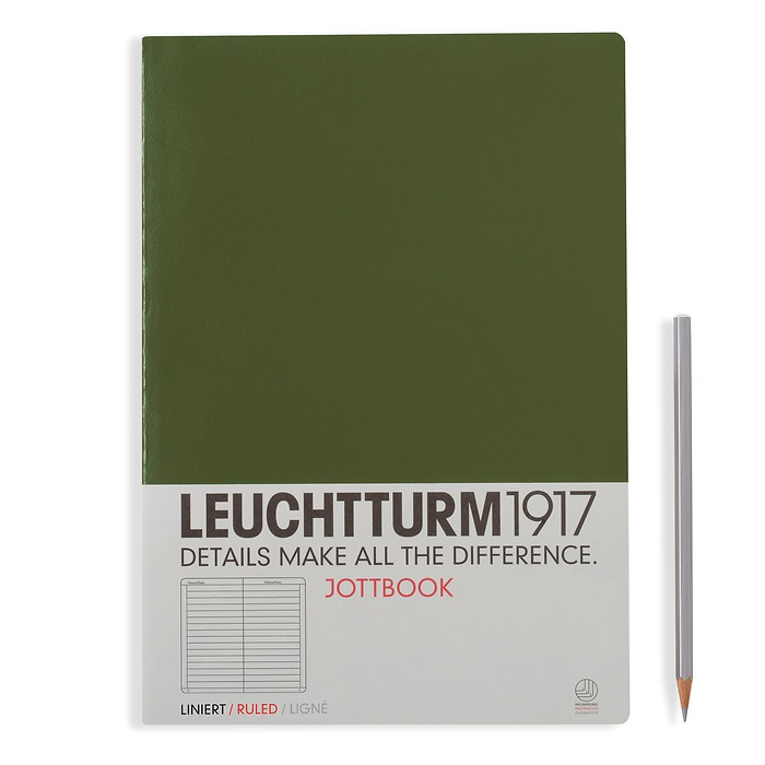 Jottbook A4, 60 numbered pages,16 pages perforated, ligné, army