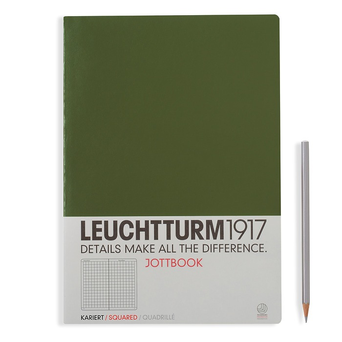 Jottbook A4, 60 numbered pages,16 pages perforated, quadrillé, army