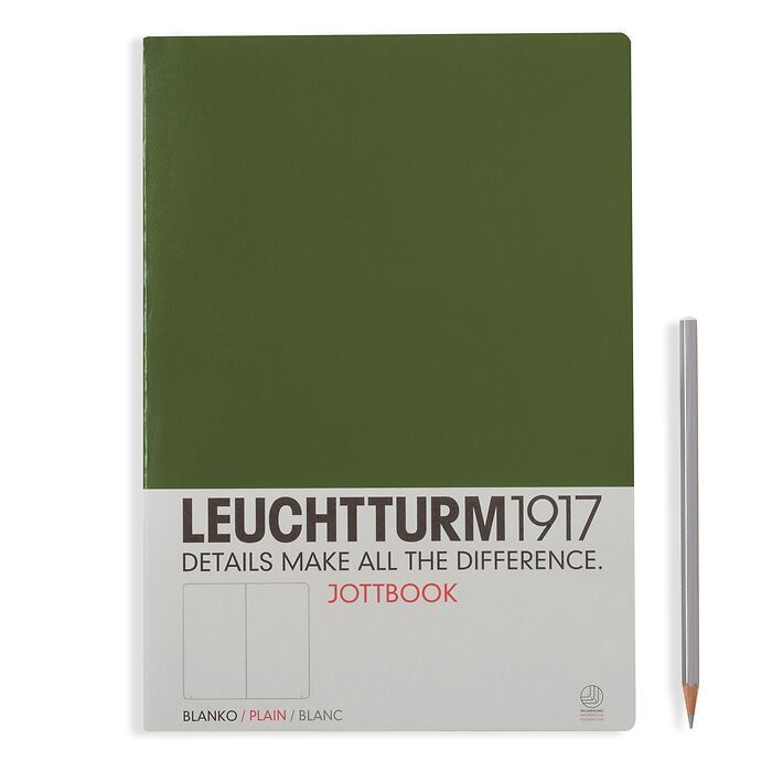 Jottbook A4, 60 numbered pages,16 pages perforated, plain, army