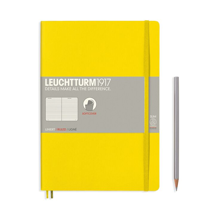 Notebook Composition (B5) ruled, softcover, 121 numbered pages, lemon