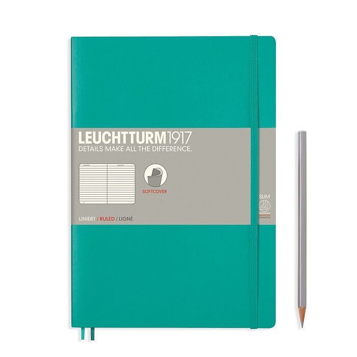 Notebook Composition (B5) ruled, softcover, 121 numbered pages, emerald