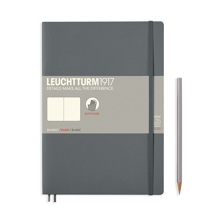 Notebook Composition (B5) plain, softcover, 121 numbegrey pages, anthracite grey