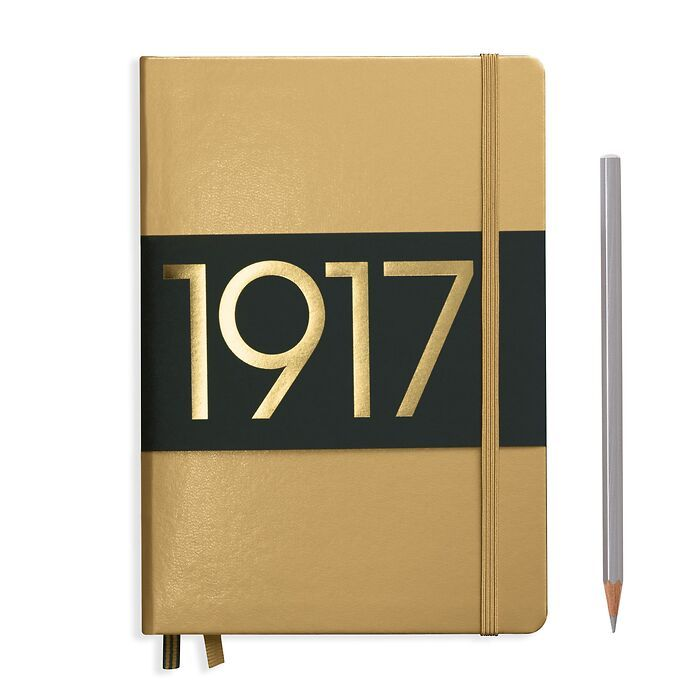 Notebook Medium (A5) dotted, Hardcover, 251 numbered pages, gold