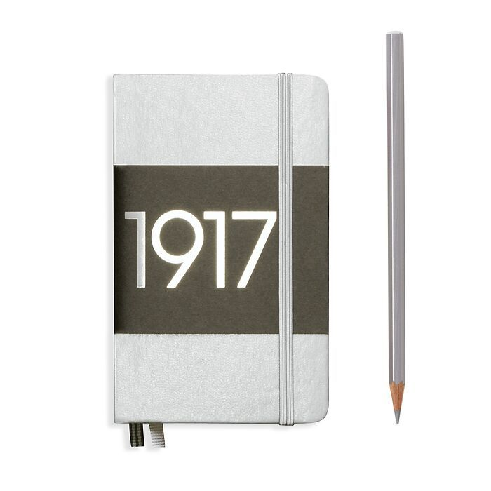 Notebook Pocket (A6) dotted, Hardcover, 187 numbered pages, silver