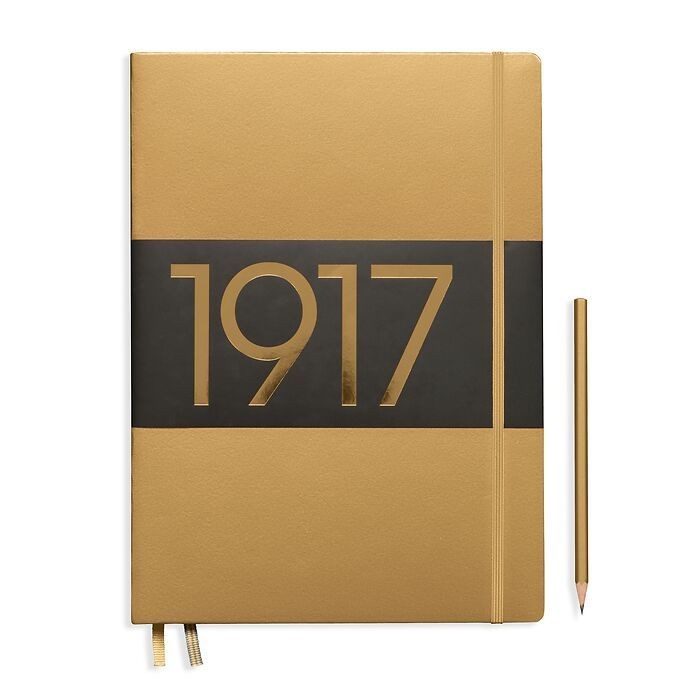 Notebook Slim Master (A4+) lined, Hardcover, 123 numbered pages, gold