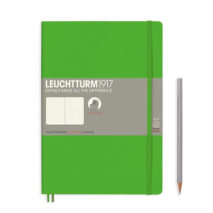 Notebook Composition (B5) dotted, softcover, 123 numbegrey pages, fresh green