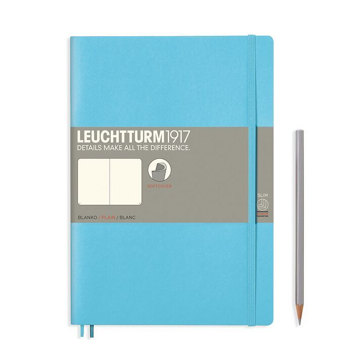 Notebook Composition (B5) plain, softcover, 123 numbegrey pages, ice blue