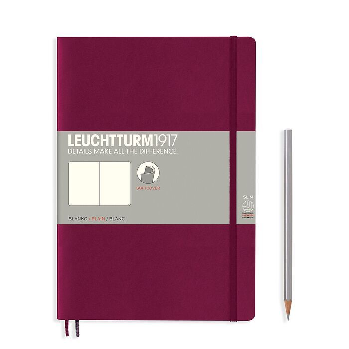 Notebook Composition (B5) plain, softcover, 123 numbegreyges, port red
