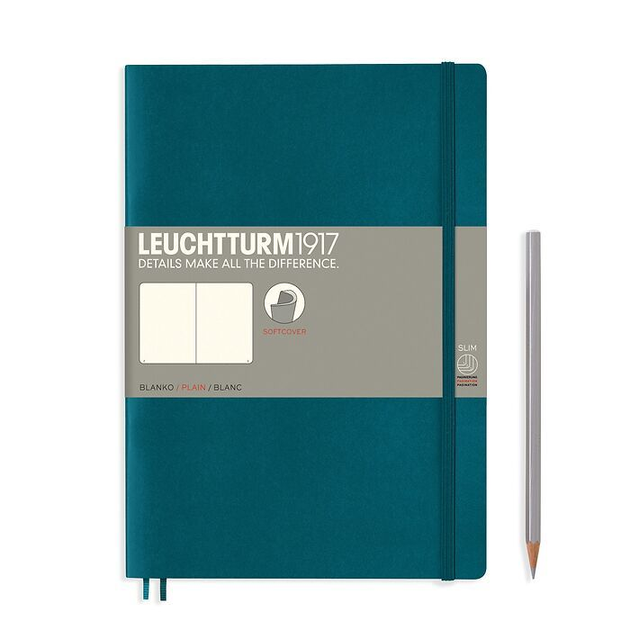 Notebook Composition (B5) plain, softcover, 123 numbegreyges, pacific green