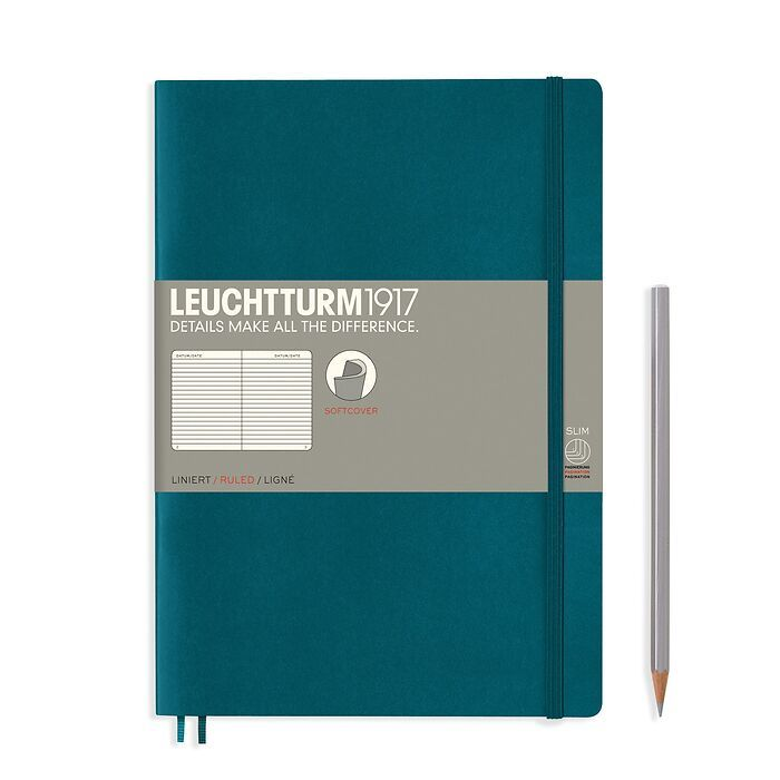 Notebook Composition (B5) ruled, softcover, 123 numbegrey pages, pacific green