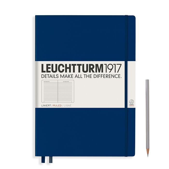 Notebook Master (A4+) Hardcover, 233 numbered pages, ruled, navy