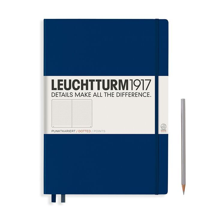 Notebook Master (A4+) Hardcover, 233 numbered pages, dotted, navy