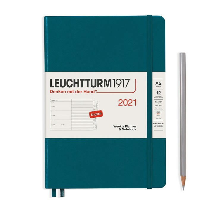 Weekly Planner & Notebook Medium (A5) 2021, with booklet, Pacific Green, English