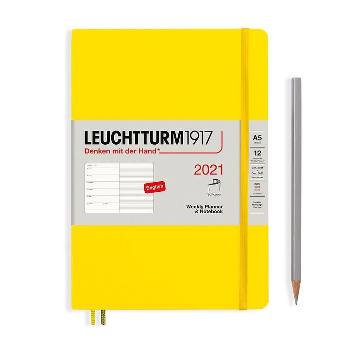 Weekly Planner & Notebook Medium (A5) 2021, Softcover, Lemon, English