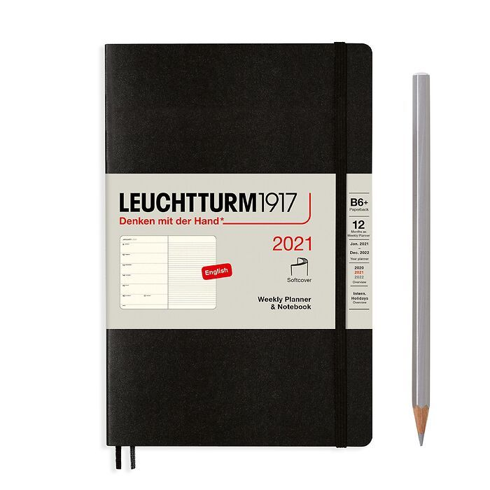 Weekly Planner & Notebook Paperback (B6+) 2021, Softcover, Black, English