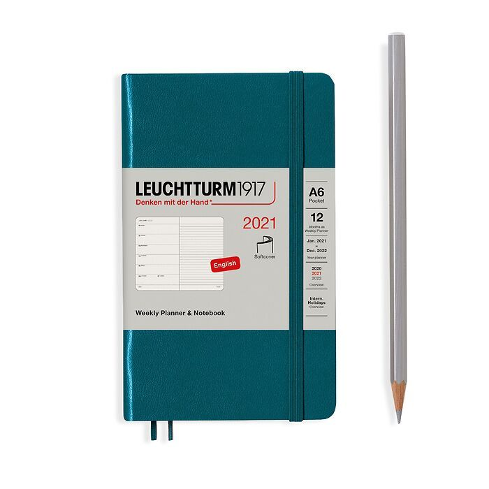 Weekly Planner & Notebook Pocket (A6) 2021, Softcover, Pacific Green, English
