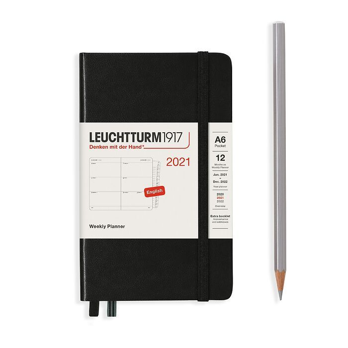 Weekly Planner Pocket (A6) 2021, with booklet, Black, English