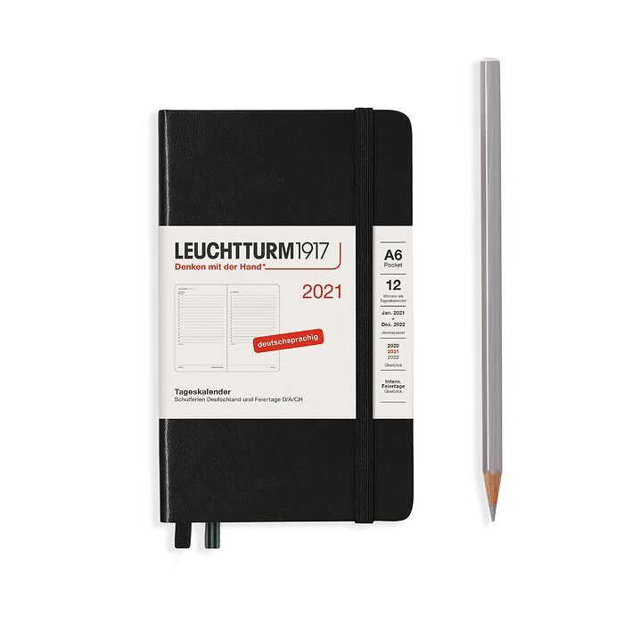 Daily Planner Pocket (A6) 2021, Black, English